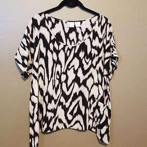 Lilu 100% Silk black and white top